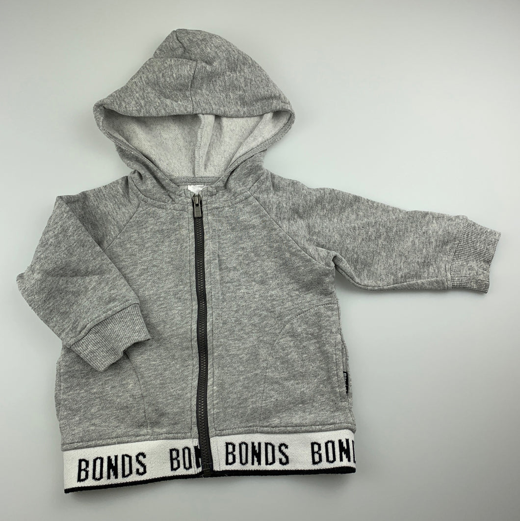 Unisex Bonds, grey fleece lined zip hoodie / sweater, GUC, size 0