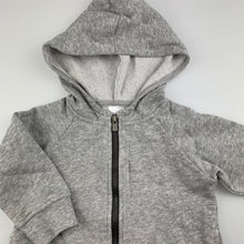 Load image into Gallery viewer, Unisex Bonds, grey fleece lined zip hoodie / sweater, GUC, size 0