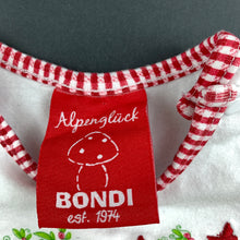 Load image into Gallery viewer, Girls Alpengluck, white bodysuit / romper, toadstool, EUC, size 00