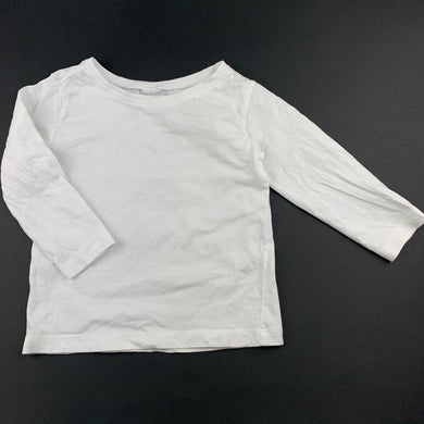 Unisex Anko Baby, white cotton long sleeve t-shirt / top, GUC, size 1