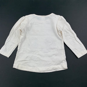 Girls Tiny Little Wonders, cream cotton long sleeve top, GUC, size 0