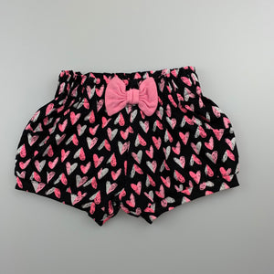 Girls Baby Berry, cotton shorts, elasticated, hearts, EUC, size 000