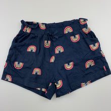 Load image into Gallery viewer, Girls Kids & Co, navy soft cotton shorts, rainbows, GUC, size 5