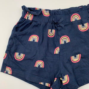 Girls Kids & Co, navy soft cotton shorts, rainbows, GUC, size 5