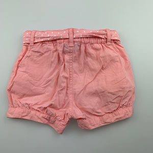 Girls Sprout, pink lightweight cotton shorts, elasticated, GUC, size 1