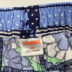 Girls Gymboree, blue floral lightweight cotton shorts, FUC, size 3