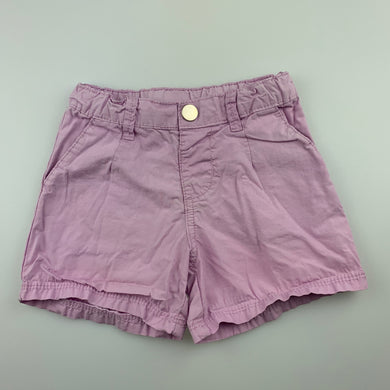 Girls B Collection, lilac lightweight cotton shorts, adjustable, GUC, size 1