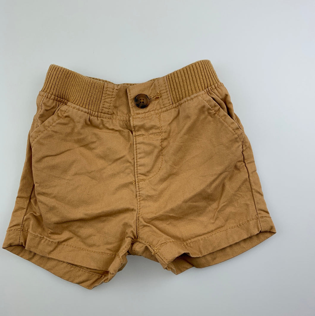 Boys Target, tan cotton shorts, elasticated, EUC, size 000