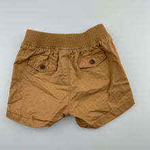 Load image into Gallery viewer, Boys Target, tan cotton shorts, elasticated, EUC, size 000