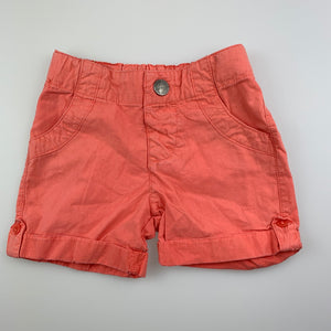 Girls Bebe by Minihaha, coral lightweight cotton shorts, adjustable, FUC, size 00