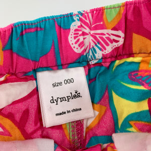 Girls Dymples, bright lightweight cotton shorts, elasticated, GUC, size 000