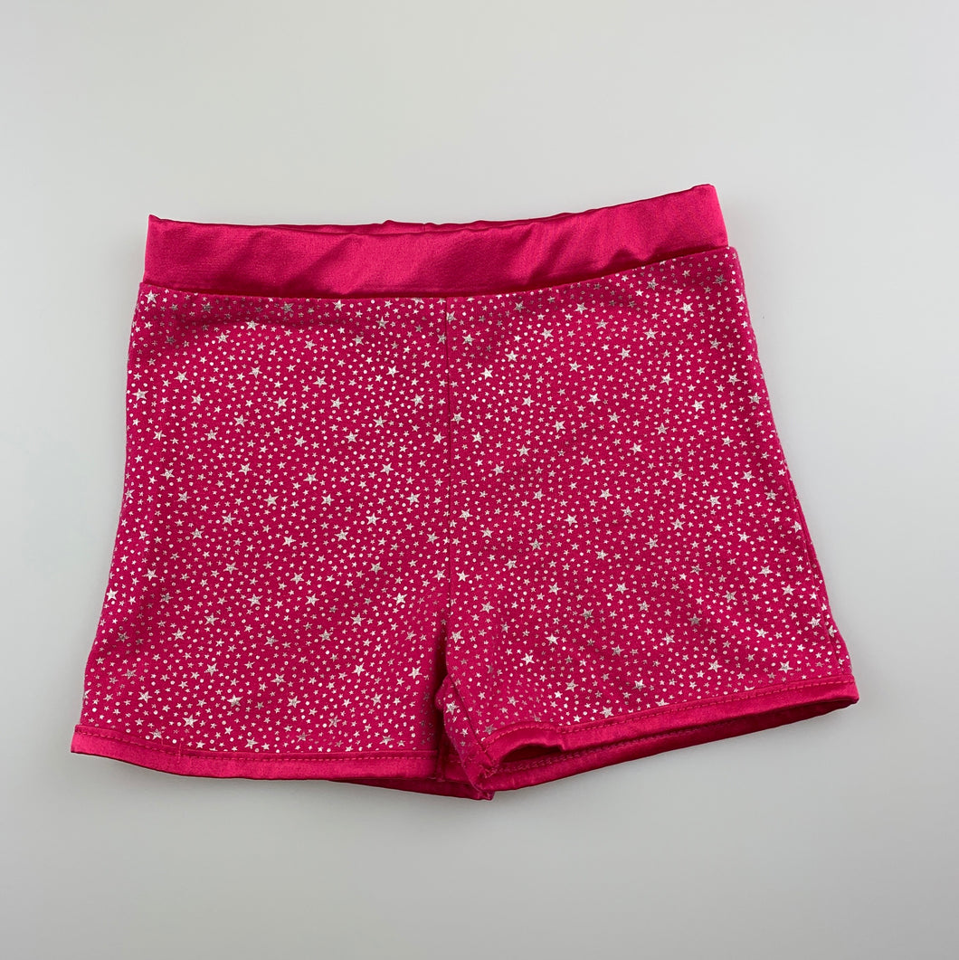 Girls Let's Dance, pink & silver stretchy dance shorts, EUC, size 3