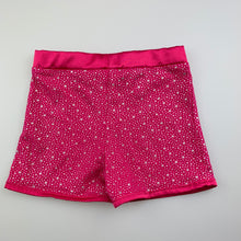 Load image into Gallery viewer, Girls Let's Dance, pink & silver stretchy dance shorts, EUC, size 3
