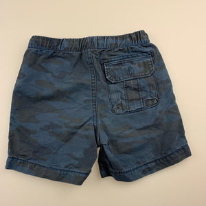 Boys Gap, blue cotton camo print shorts, elasticated, button missing from back pocket, FUC, size 2