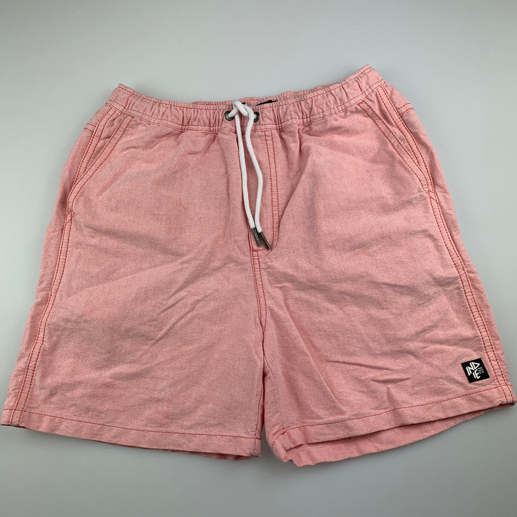 Boys Indie by Industrie, pink cotton shorts, elasticated, GUC, size 12