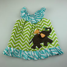 Load image into Gallery viewer, Girls Mud Pie, cute lined party dress, elephant, GUC, size 00-0