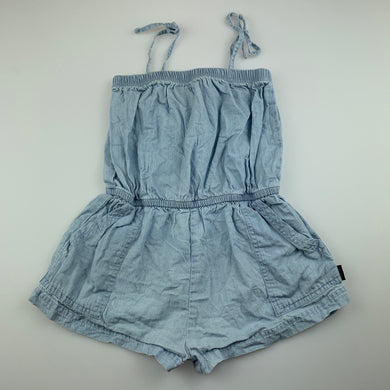 Girls Bonds, blue chambray cotton playsuit, GUC, size 3