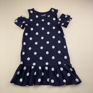 Girls Cotton On, navy cotton cold shoulder dress, GUC, size 5