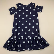 Load image into Gallery viewer, Girls Cotton On, navy cotton cold shoulder dress, GUC, size 5