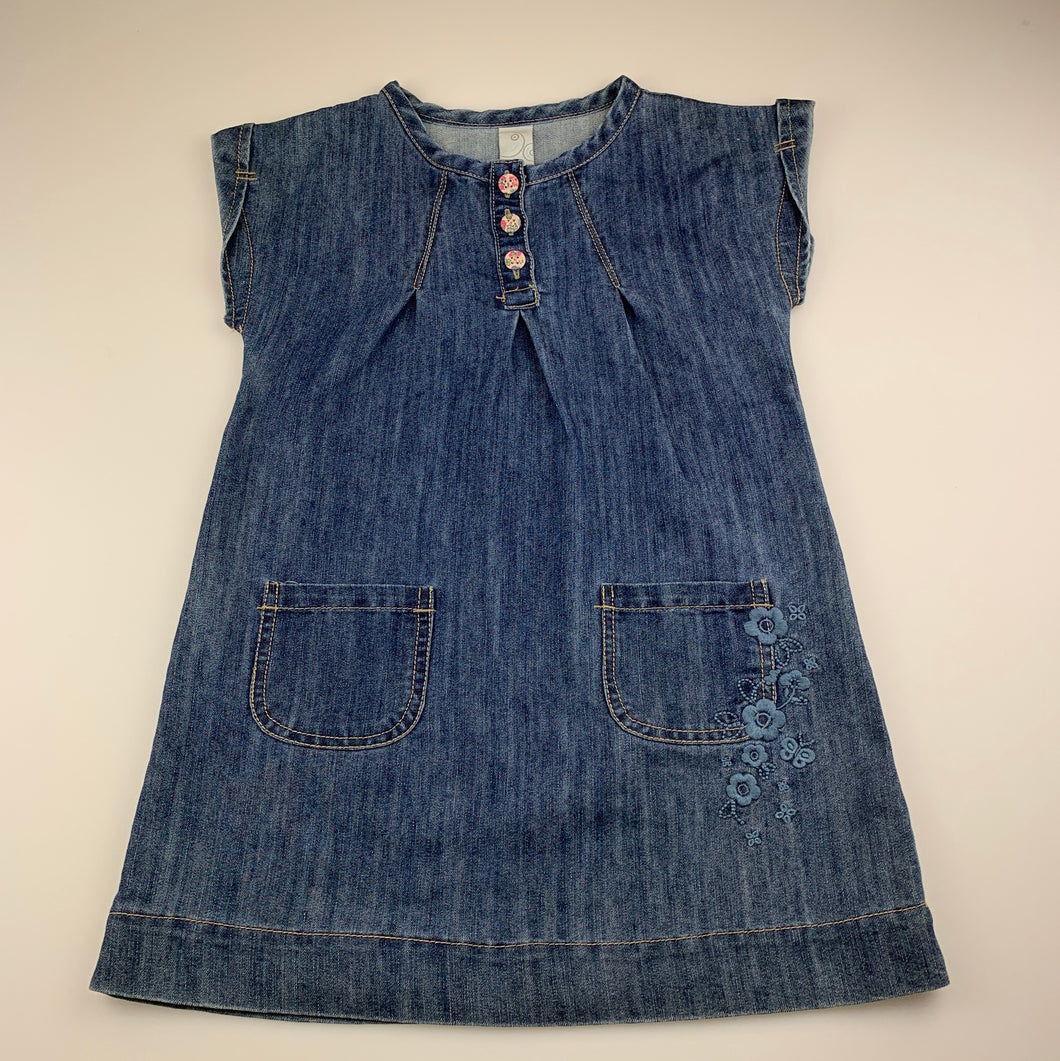 Girls Target, blue denim dress, embroidered, GUC, size 6