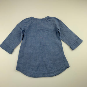 Girls Target, blue chambray cotton long sleeve dress, GUC, size 1