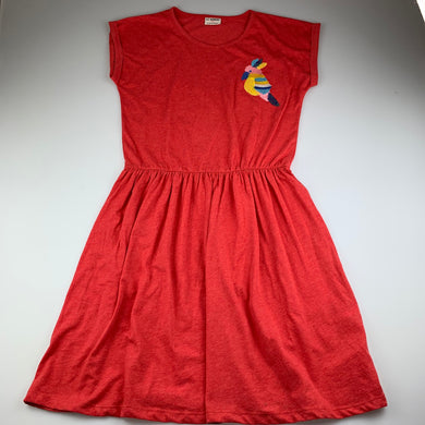 Girls LC Waikiki, red marle soft feel casual dress, bird, GUC, size 13-14