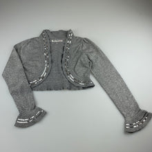Load image into Gallery viewer, Girls Autograph M&S, grey / silver soft feel bolero cardigan, GUC, size 7-8