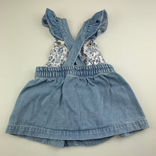Load image into Gallery viewer, Girls Baby Berry, blue denim overalls dress / pinafore, GUC, size 0