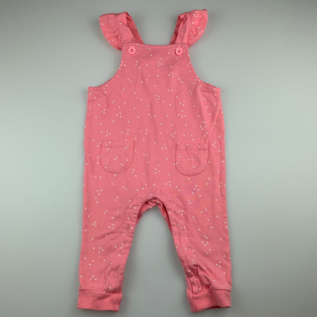Girls Target, pink soft cotton overalls / playsuit, EUC, size 0