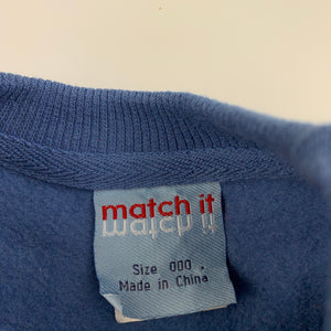 Boys Match It, blue fleece lined sweater / jumper, GUC, size 000