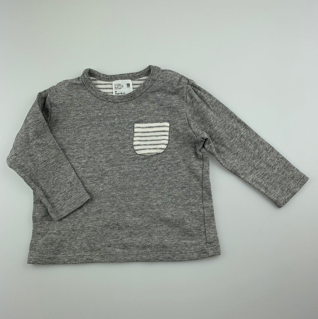 Boys Uniqlo, soft cotton long sleeve t-shirt / top, GUC, size 1