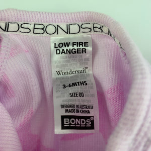 Girls Bonds, pink zip wondersuit / zippy / romper, GUC, size 00