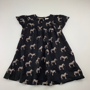Girls Next, black cotton casual dress, zebras, GUC, size 2-3