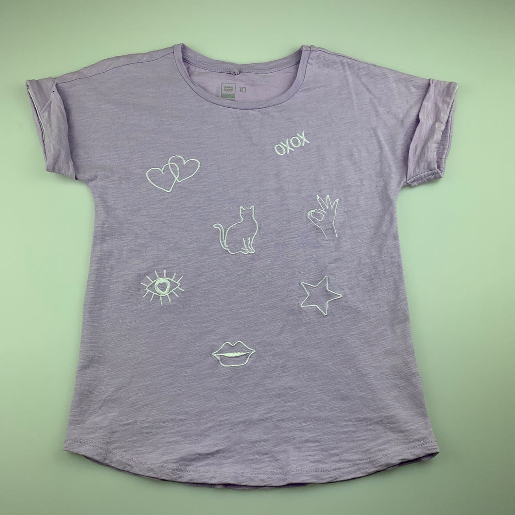 Girls Clothing & Co, lilac cotton t-shirt / top, cat, GUC, size 10