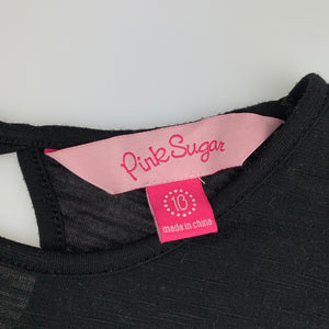 Girls Pink Sugar, black soft feel top, hearts, GUC, size 10