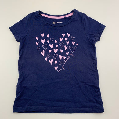 Girls B Collection, navy cotton t-shirt / top, hearts, GUC, size 3