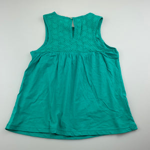 Girls Country Road, green lightweight cotton tank top, EUC, size 5