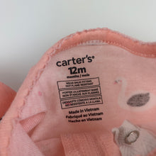 Load image into Gallery viewer, Girls Carter's, pink cotton zip coverall / romper, FUC, size 12 months