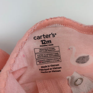 Girls Carter's, pink cotton zip coverall / romper, FUC, size 12 months