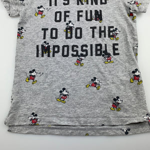 Unisex Disney, Mickey Mouse grey cotton t-shirt / top, GUC, size 5