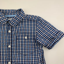 Load image into Gallery viewer, Boys Milkshake, blue check cotton short sleeve shirt, GUC, size 7