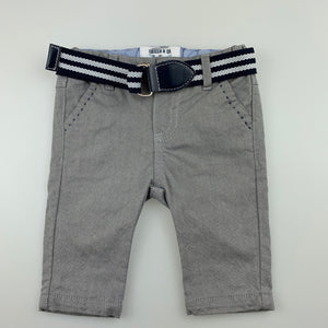 Boys Chicco, cute grey cotton chino pants, adjustable, EUC, size 0000
