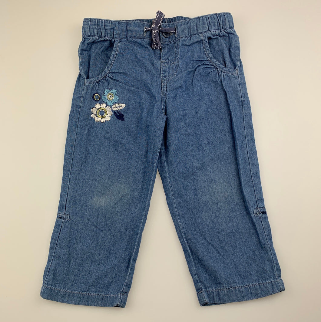 Girls Sprout, blue chambray cotton pants, drawcord, FUC, size 1