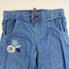 Load image into Gallery viewer, Girls Sprout, blue chambray cotton pants, drawcord, FUC, size 1
