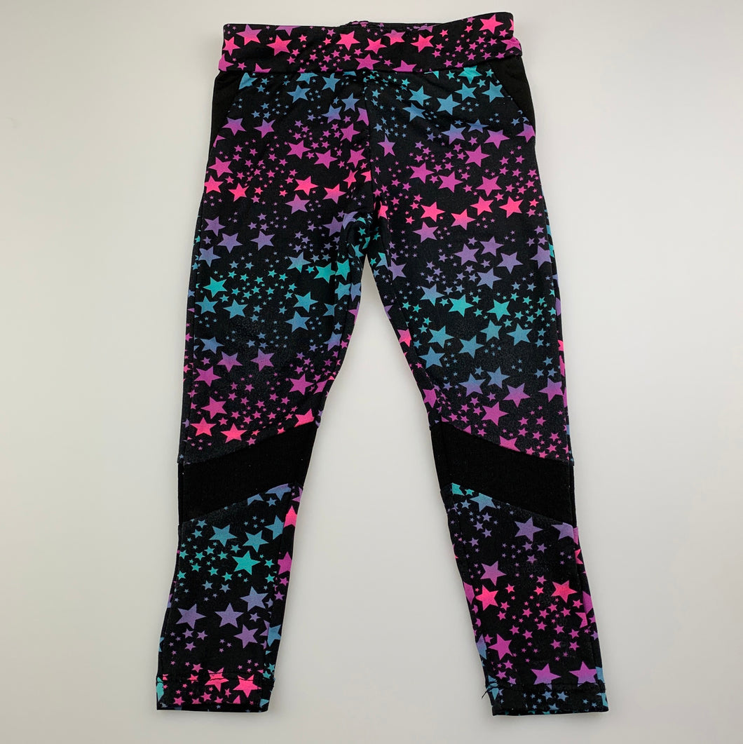 Girls B Collection, soft stretchy leggings, stars, FUC, size 2