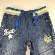 Load image into Gallery viewer, Boys H&T, blue denim pants / jeans, elasticated, GUC, size 3