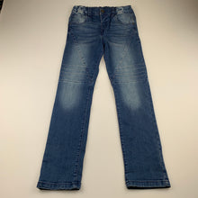 Load image into Gallery viewer, Girls H&T, blue stretch denim jeans, adjustable, Inside leg: 59cm, GUC, size 7