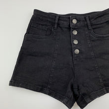 Load image into Gallery viewer, Girls The 1964 Denim Co, black stretch denim shorts, W: 62cm, GUC, size 14