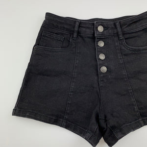 Girls The 1964 Denim Co, black stretch denim shorts, W: 62cm, GUC, size 14