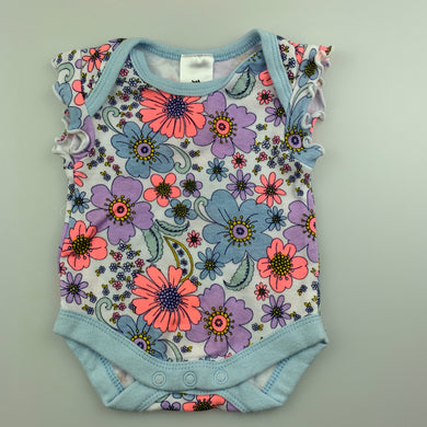 Girls Baby Berry, floral soft cotton bodysuit / romper, EUC, size 0000